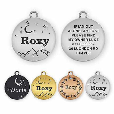 £3.99 • Buy Dog Tag Personalised ID Tags For Dogs/Cats Custom Pet Tag Engraved Dog Name Tag