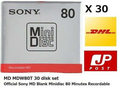 $107 • Buy Official Sony MD Blank Minidisc 80 Minutes Recordable MD MDW80T 30 Disk Set