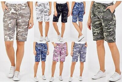 £14.99 • Buy  Ladies Italian Stretch Camouflage Army Print Hot Pant Magic Shorts New