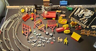 £26.26 • Buy Vintage Farm Toy Lot Red Yellow Tractor Fence Chickens Cows Horses Etc