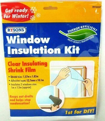 £2.99 • Buy Window Insulation Kit Shrink Fit Double Glazing Film Draught Excluder Cold Frost