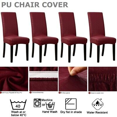 AU35.14 • Buy Dining Chair Cover PU Seat Slipcover Waterproof Party Wedding Banquet 4Pack