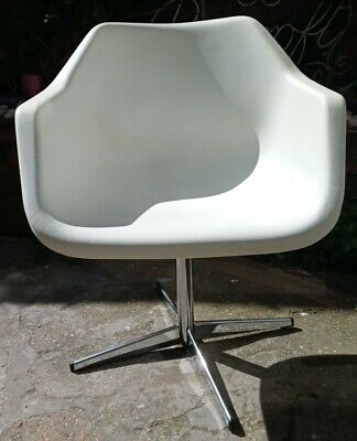 £150 • Buy FAB Retro White / Chrome Robin Day Hille Swivel Chair Lovely Condition