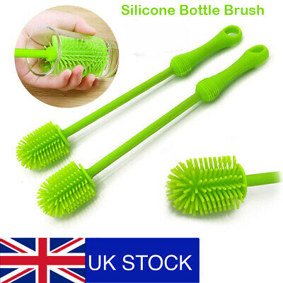 £5.23 • Buy Silicone Wash Cup Brush Long Handle Baby Milk Bottle Brush Glass Cup Clean UK