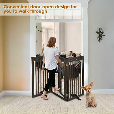 £86.99 • Buy Folding Pet Gate Portable Wooden Retractable Dog Fence Baby Safety Free Standing