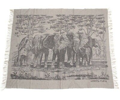 £1120.24 • Buy Hermes Blanket Shawl Stole Scarf Animal Elephant Gray Cashmere 76 X 60 In Ex++