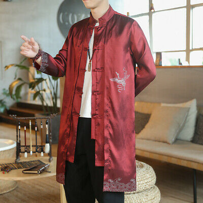 $53.44 • Buy Mens Chinese Trench Coat Long Embroidery Tang Suit Crane Print Robe Jacket Tops