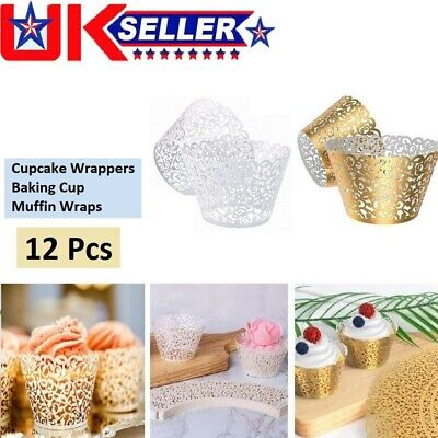 £3.39 • Buy 12Pack Lace Laser Cut Cupcake Wrapper Wraps Cases Wedding Party Baking Muffin UK