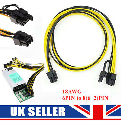 £7.59 • Buy 6pin To 8pin (6+2) PCIe 60CM Extended Power Cable For GPU/ASIC Mining 50/60/70CM