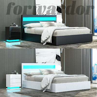 £199.99 • Buy LED Faux Leather Bed Gas Lift Up Ottoman Storage Wooden Bed Frame Double King UK