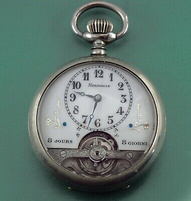 AU1166.85 • Buy 8 DAYS Antique Pocket Watch HEBROMAS In Working Condition Vintage Late 1800s