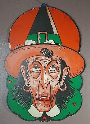 $ CDN69.24 • Buy Vintage Early 18  Tall Halloween Witch Thick Die-cut Decoration. USA