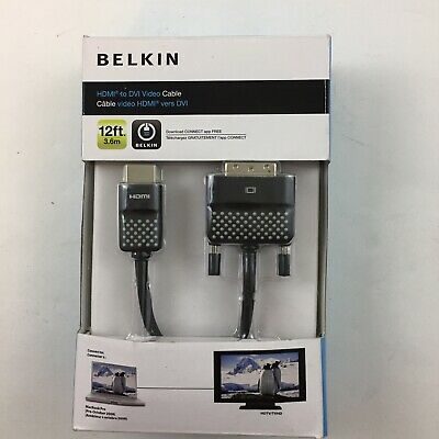 $13.99 • Buy Belkin HDMI To DVI Video Cable MacBook Pro Pre Oct. 2008 12ft 3.6m MAC To TV