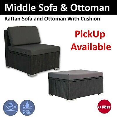 AU77 • Buy Rattan Outdoor Furniture Middle Sofa/Seat And Ottoman Patio Wicker Lounge Garden