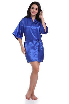 £3.79 • Buy Royal Blue Satin Robe Dressing Gown Wedding Party Bridesmaid Bride Size 8 10 12