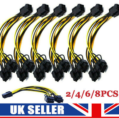 £9.59 • Buy 2-8PCS 6pin To 8pin (6+2) PCIe 22CM Extended Power Cable GPU/ASIC Mining 18AWG