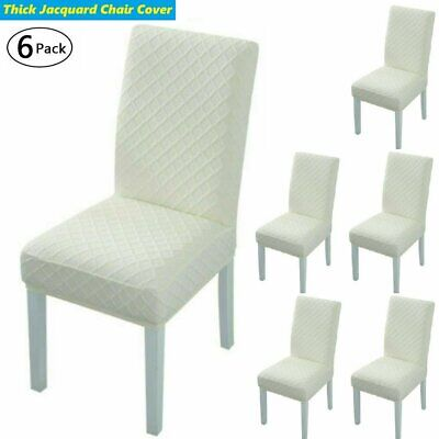 AU28.49 • Buy 6Pack Thickened Jacquard Dining Chair Covers Removable Slipcovers Wedding Beige