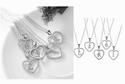 £2.99 • Buy Ladies Silver Love Heart Initial Alphabet Letter Cubic Chain Necklace