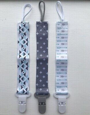 £3.95 • Buy Dummy Clips - 3Pack - Grey - Baby Pacifier/Soother/Teething (arrow)🇬🇧UK Stock