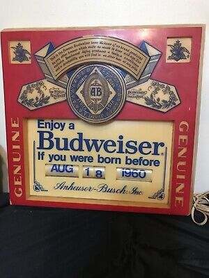 $ CDN157.36 • Buy Vintage Budweiser Born Before 1960-1971 Sign Drinking Birth Date Month Day Year