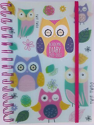 £5.99 • Buy 2021-2022 Diary A5 Day To Page Academic Spiral Bound Student Teacher Diary Owl