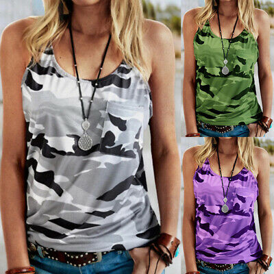 £6.19 • Buy Women Summer Casual Camouflage Vest Tank Camisole Sleeveless Tops T-Shirt 6-24