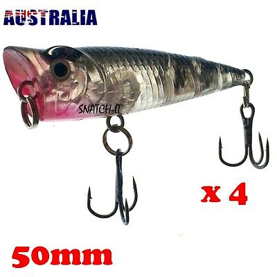 AU9.50 • Buy 4 X Bream POPPER FISHING LURES HARD BODY 50MM POPPERS Bass FLATHEAD TOPWATER