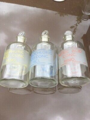 £30 • Buy Three Vintage Glass Reagent 250 Ml Chemist Bottles With Etched Labels