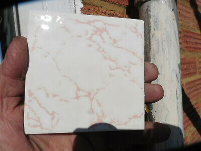 £9.99 • Buy Vintage CRISTAL Wall Tiles By H&R Johnson Limited - PINK VEIN - RECLAIMED