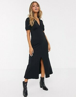 AU30 • Buy NWOT ASOS Midi Tea Dress With Collar Black Sz 8