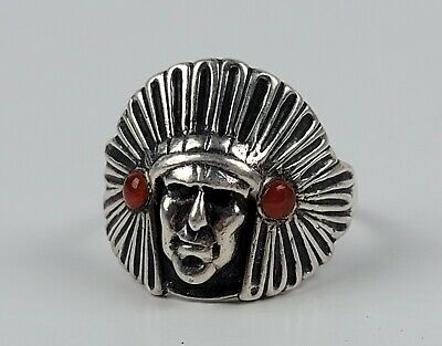 £92.27 • Buy ZUNI Or Navajo Old Pawn Indian Head 925 Sterling Ring Red Stones Men's Size 13+