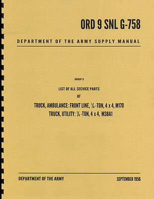 $40.88 • Buy ORD 9 SNL G-758 ~ List Of All Service Parts ~ M38A1 Jeep Manual ~ Reprnt
