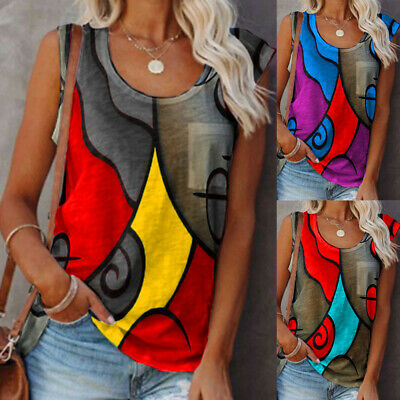 £6.98 • Buy Womens Casual Print Sleeveless Vest Tops Ladies Summer Blouse Shirts Sizes 6-24