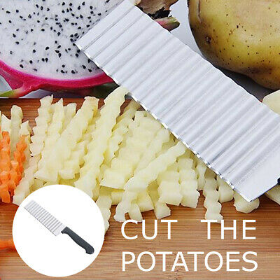 £4.55 • Buy Stainless Steel Potato Chip Salad Vegetable Crinkle Cutter Kitchen Cutting Tool.