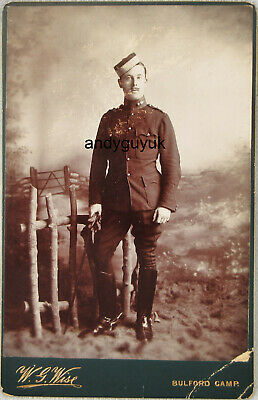 £3.95 • Buy Cabinet Card Soldier Bulford Camp Military Wise Leather Boots Antique Photo