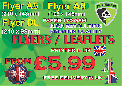£9.89 • Buy A5, A6 Or DL Flyers/Leaflets Premium Quality Printed Full Colour 170gsm SILK