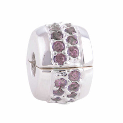 £4.95 • Buy 1 X Clip On Crystal Spacer Charm Bracelet Bead Stopper 925 Silver