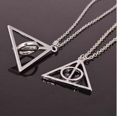 £2.95 • Buy Wizard Rotating Harry Potter Inspired Hallows Necklace Silver Gift UK