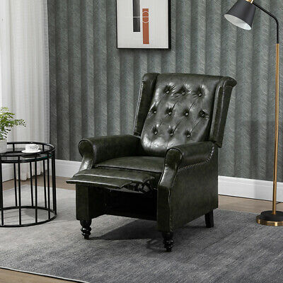 £235.99 • Buy Luxury PU Leather Recliner Chair Wing Back Occasional Armchair Sofa Retro Green