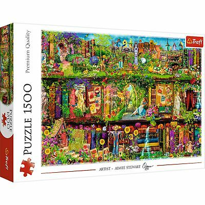 £10.99 • Buy Trefl 1500 Piece Adult Large Fun Relaxing Fairy Bookcase Books Jigsaw Puzzle