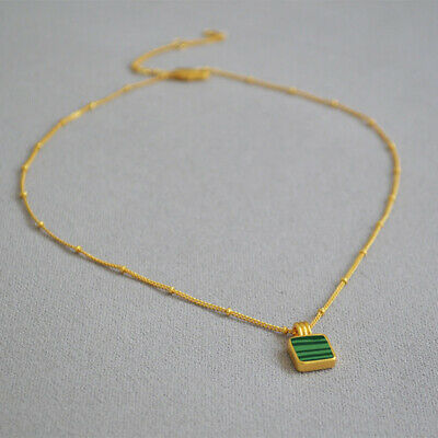 £13.99 • Buy Gold Necklace Emerald Simulant Pendant, Gold Beaded Chain Small Pendant - Womens