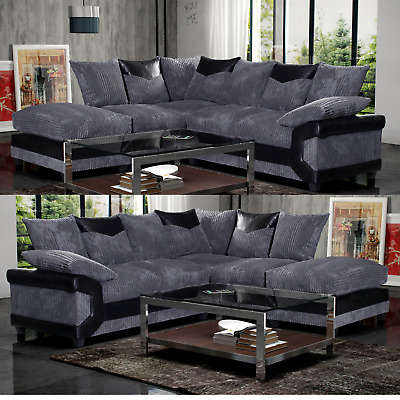 £499 • Buy Dino Black And Grey- Corner Sofa Left Hand Or Right Hand **FOAM SEATING**