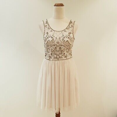 AU22.95 • Buy Size 10 FOREVER NEW Cream Beaded Dress Party Cocktail Tulle Bodice Viscose EUC