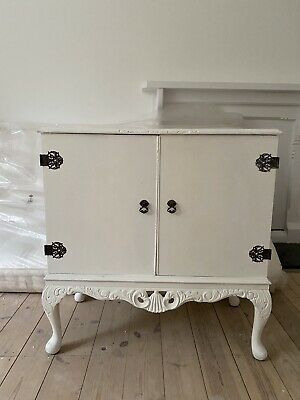£95 • Buy Vintage Antique Carved Drinks Cabinet Cupboard On Cabriole Legs Shabby Chic