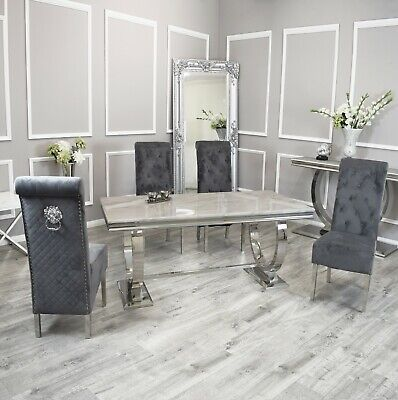 £559 • Buy Rani White Marble 200CM Dining Table + Lucy Grey Lion Knocker Velvet Chairs