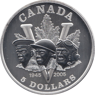 Coin Silver Dollar Canada $5 1oz .999 2005 Armed Forces Matte Proof + COA   • 39.95£