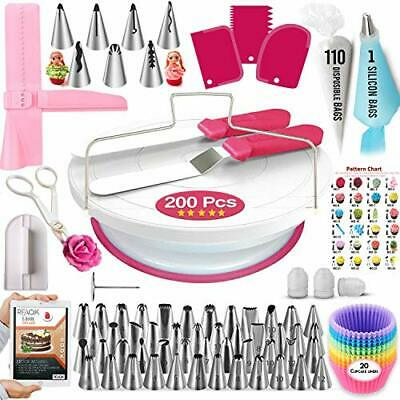 £20.99 • Buy 200 Pcs Cake Decorating Supplies Kit For Beginners-1 Cake Turntable Stand With