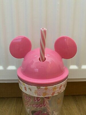 £15.99 • Buy PRIMARK Disney Minnie Mouse Pink Cup With Straw  Travel Mug Gift Plastic Glitter