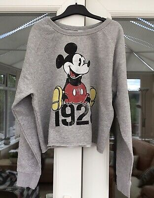 £18 • Buy Mickey Mouse Disney Graphic Cropped Grey Sweat Shirt Top Large BNWT