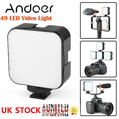 Andoer 6500K Dimmable Mini LED Video Light Fill-in Lamp For Canon Nikon Camera • 8.99£